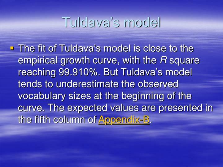 Tuldava's model