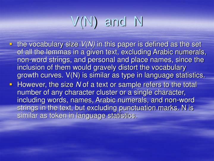 V(N)  and  N