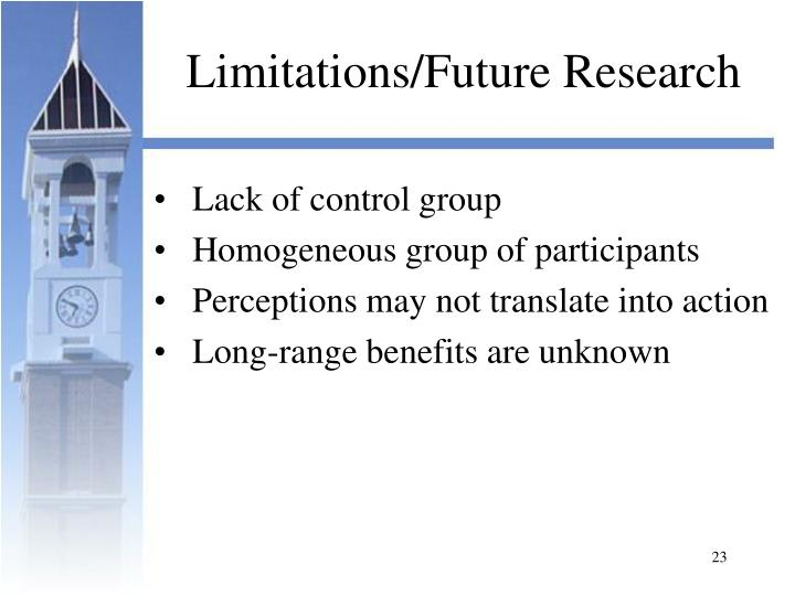 Limitations/Future Research
