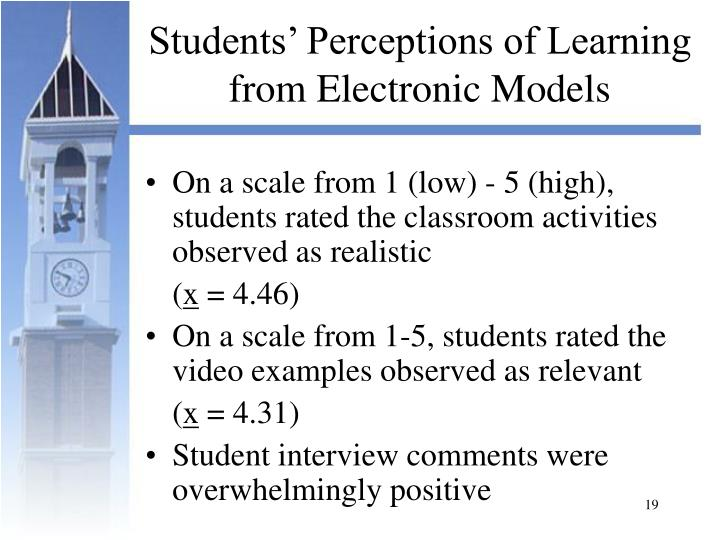 Students' Perceptions of Learning from Electronic Models