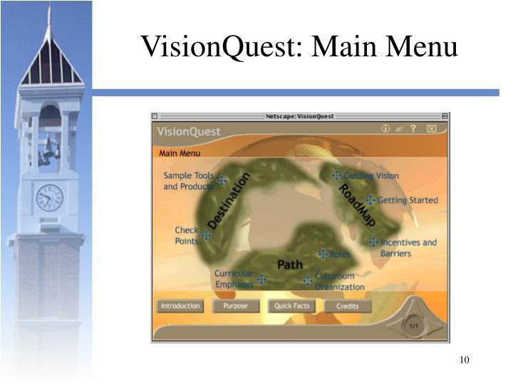 VisionQuest: Main Menu