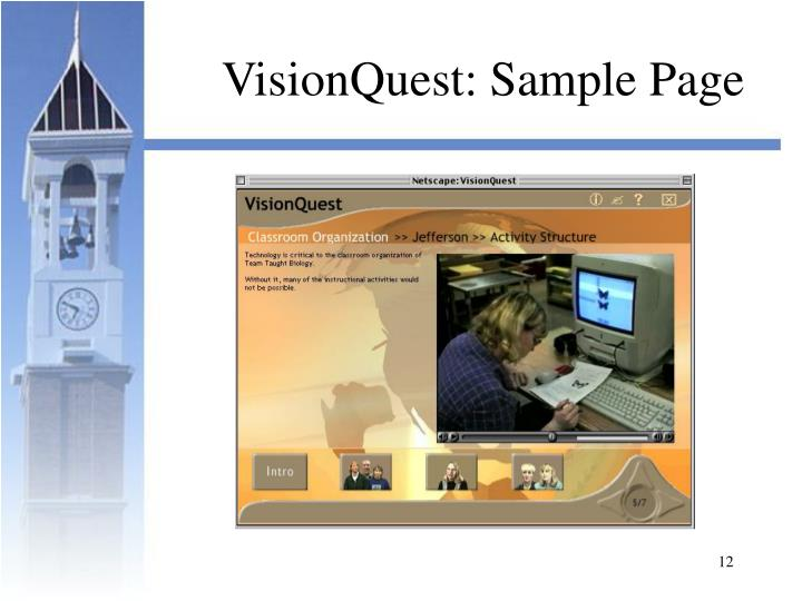 VisionQuest: Sample Page
