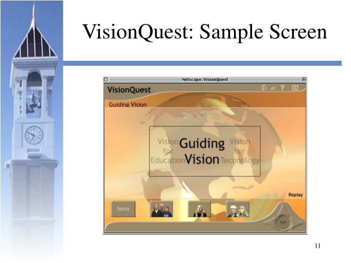 VisionQuest: Sample Screen