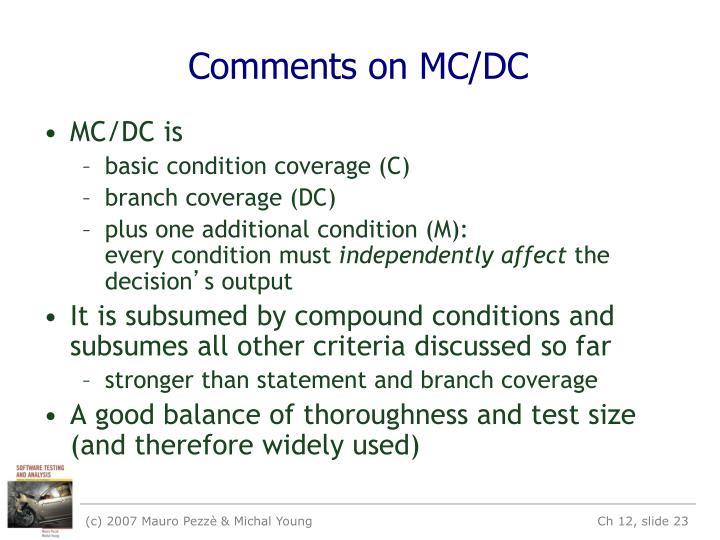 Comments on MC/DC