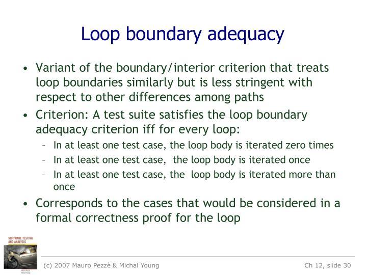 Loop boundary adequacy