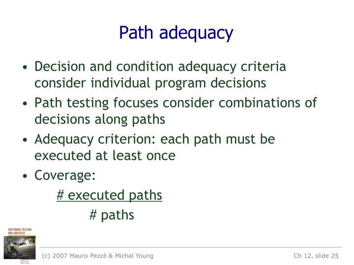 Path adequacy
