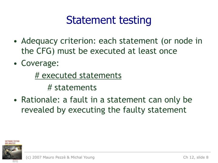 Statement testing