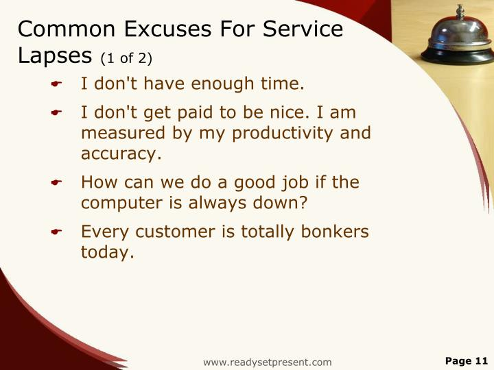 Common Excuses For Service Lapses