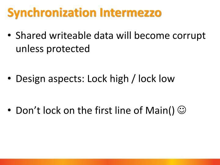 Synchronization Intermezzo