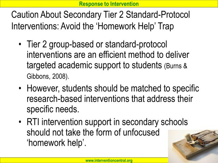 Caution About Secondary Tier 2 Standard-Protocol Interventions: Avoid the 'Homework Help' Trap