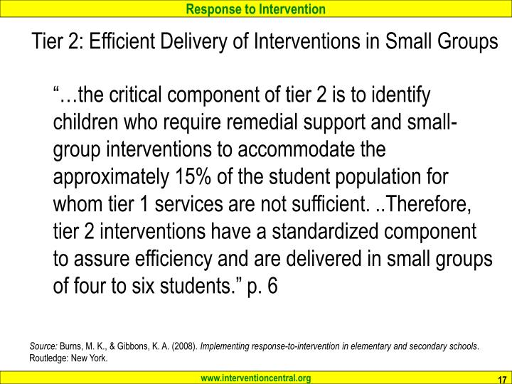 Tier 2: Efficient Delivery of Interventions in Small Groups