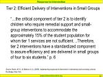 tier 2 efficient delivery of interventions in small groups