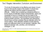 tier 3 targets intervention curriculum and environment