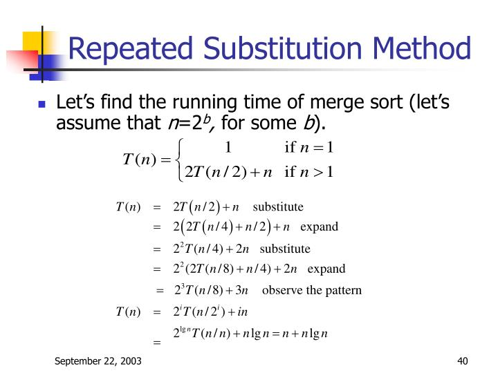 Repeated Substitution Method