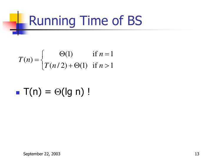 Running Time of BS