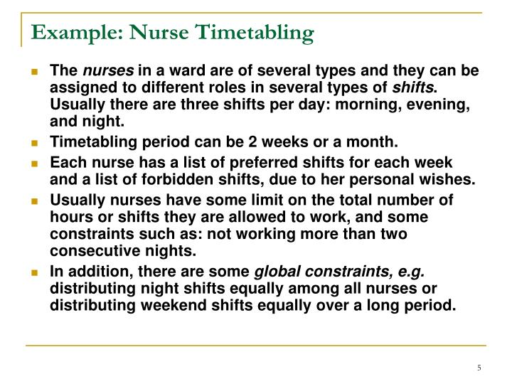 Example: Nurse Timetabling
