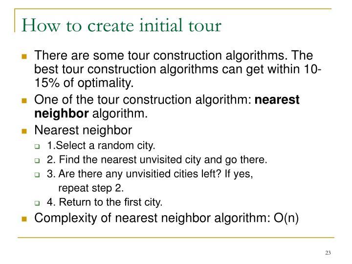 How to create initial tour