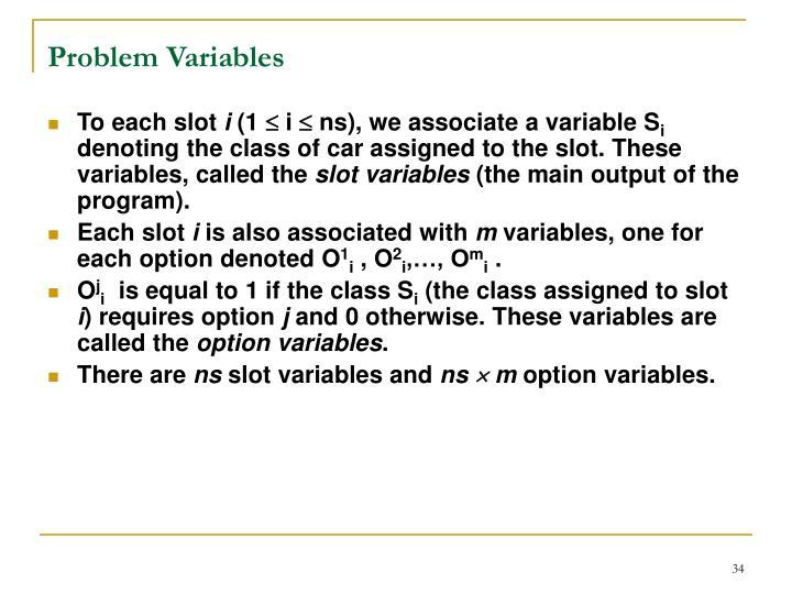 Problem Variables