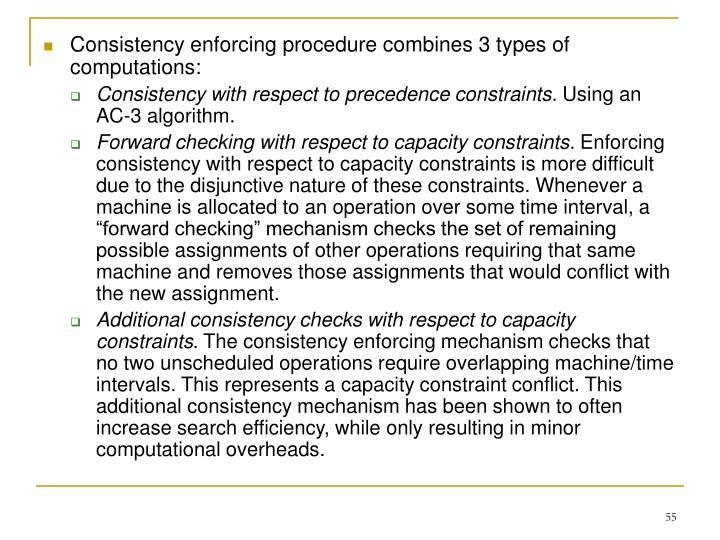 Consistency enforcing procedure combines 3 types of computations: