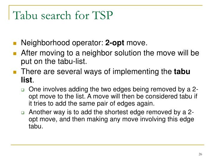 Tabu search for TSP