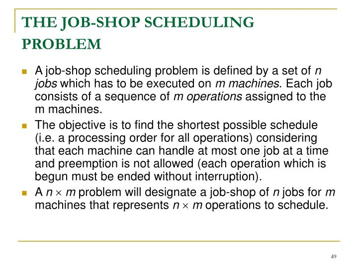 THE JOB-SHOP SCHEDULING PROBLEM