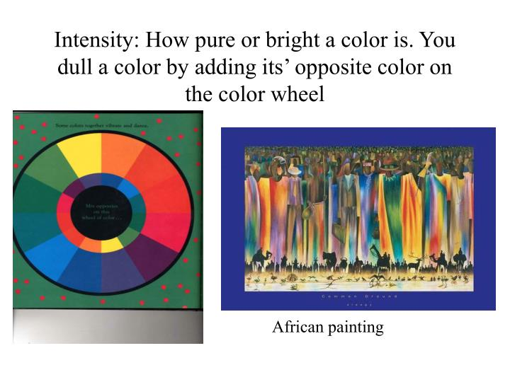 Intensity: How pure or bright a color is. You dull a color by adding its' opposite color on the color wheel