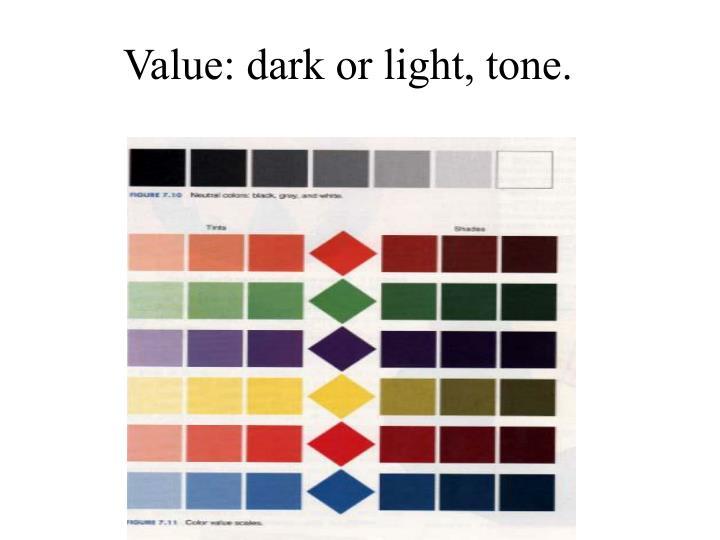 Value: dark or light, tone.