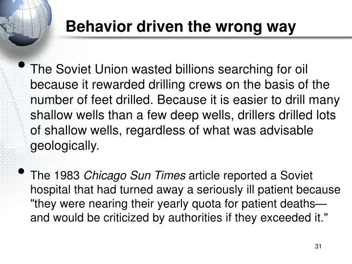 Behavior driven the wrong way