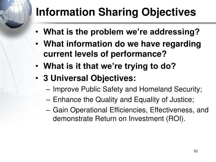 Information Sharing Objectives