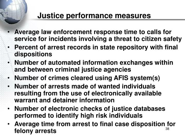 Justice performance measures