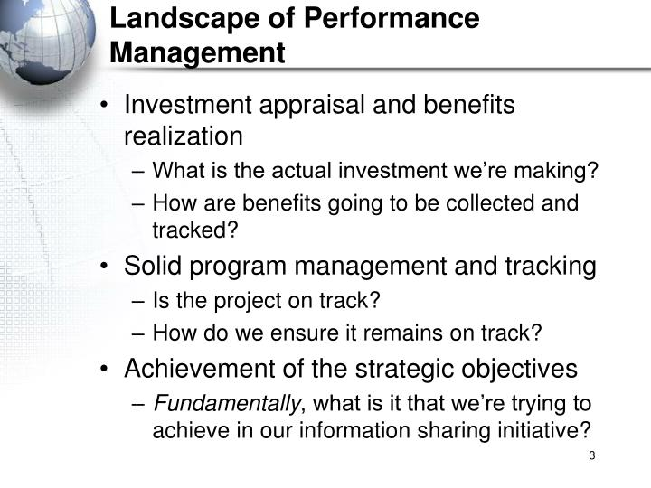 Landscape of Performance Management