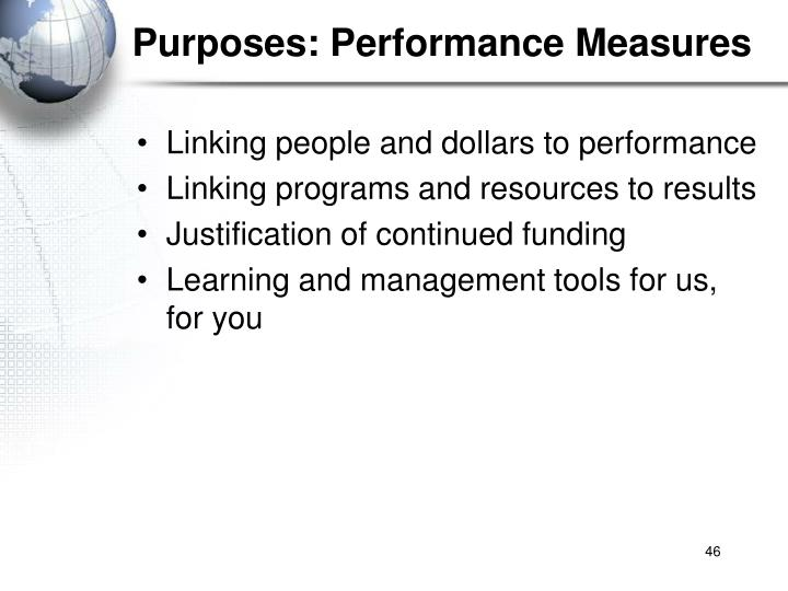 Purposes: Performance Measures
