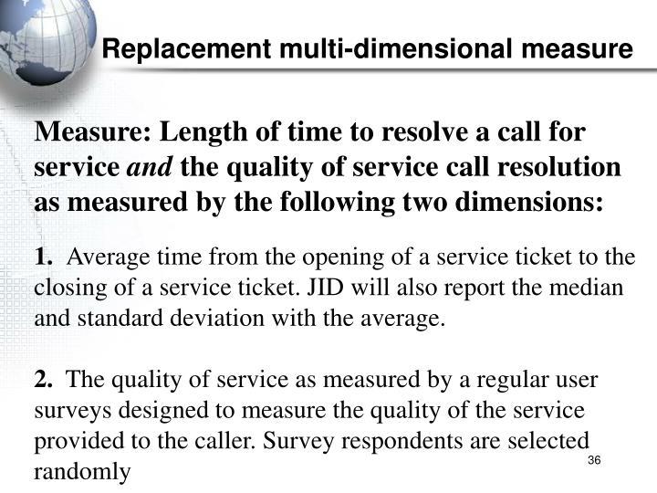 Replacement multi-dimensional measure
