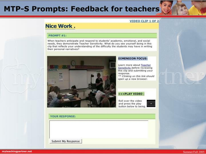 MTP-S Prompts: Feedback for teachers