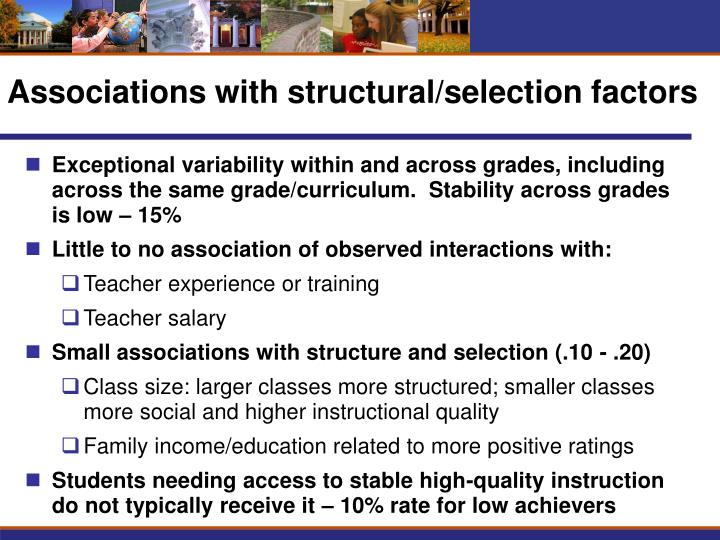 Associations with structural/selection factors