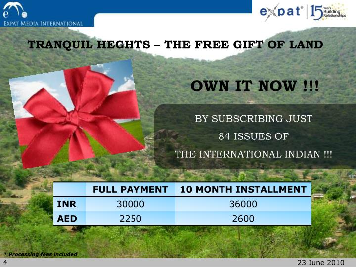 TRANQUIL HEGHTS – THE FREE GIFT OF LAND