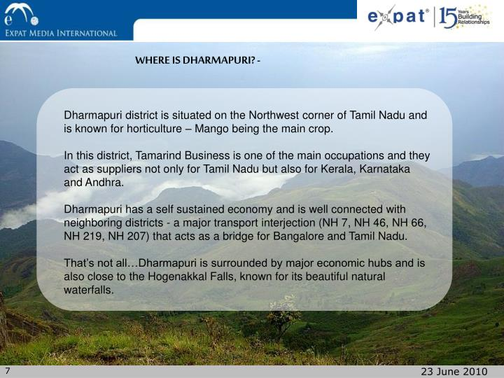 WHERE IS DHARMAPURI? -