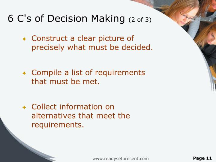 6 C's of Decision Making