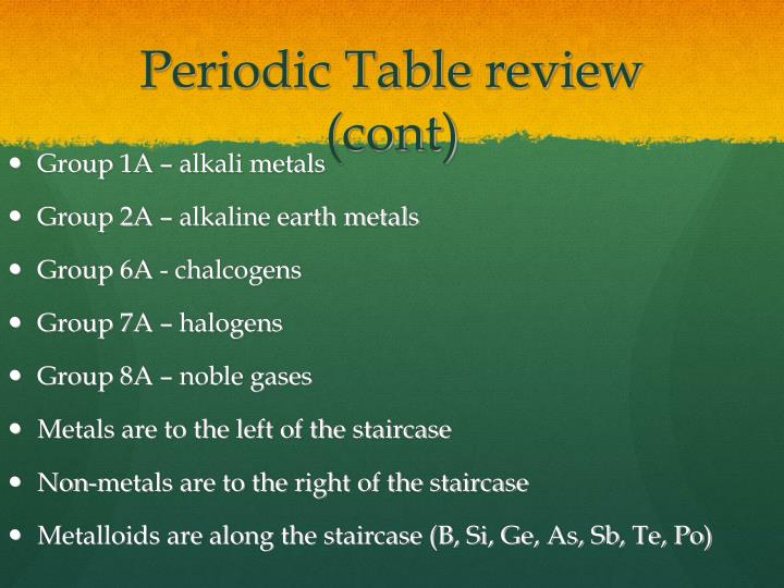 Periodic Table review (cont)