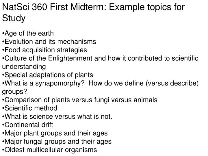 NatSci 360 First Midterm: Example topics for Study