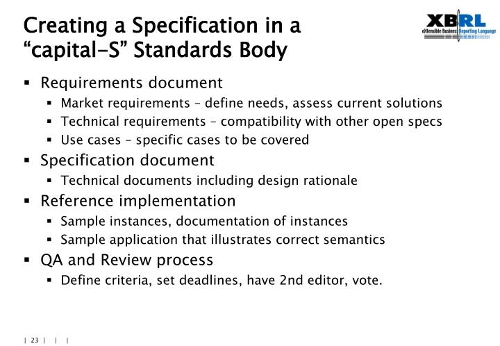 Creating a Specification in a