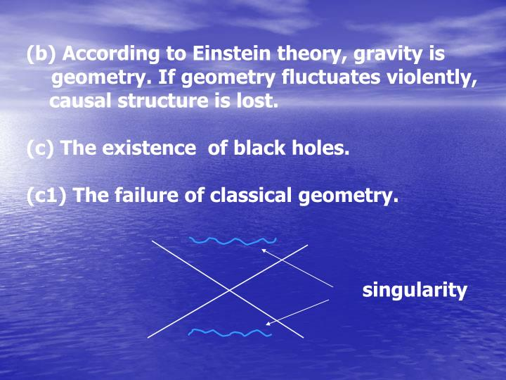 (b) According to Einstein theory, gravity is geometry. If geometry fluctuates violently,