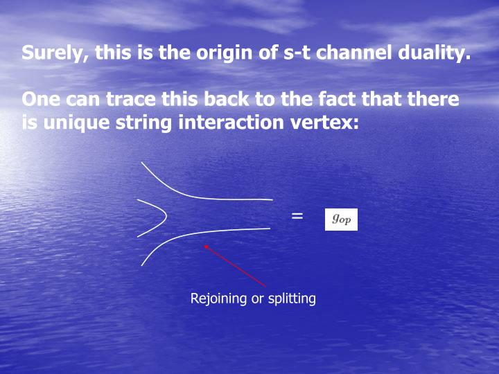 Surely, this is the origin of s-t channel duality.
