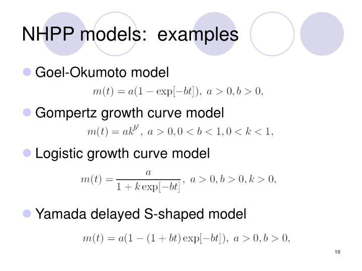 NHPP models:  examples
