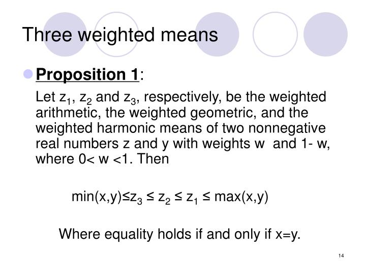 Three weighted means