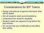 considerations for iep teams