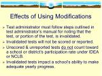 effects of using modifications