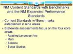 nm content standards with benchmarks and the nm expanded performance standards