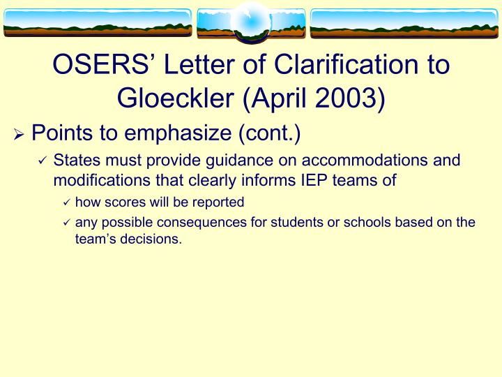 OSERS' Letter of Clarification to Gloeckler (April 2003)