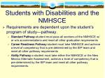 students with disabilities and the nmhsce